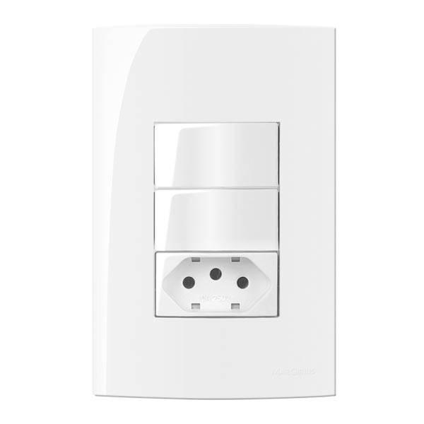 Conjunto Montado Sleek 4x2 2 Interruptores Simples + 1 Tomad - LCGELETRO