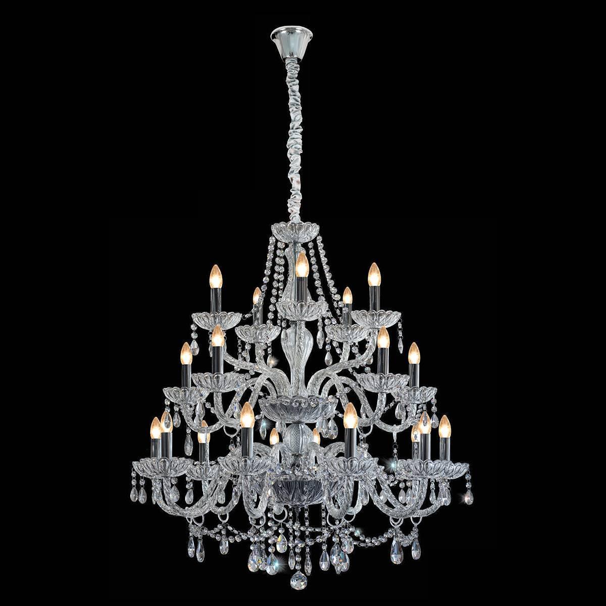 Lustre Clássico 20 Braços Pingentes Cristal K9 Candelabro - LCGELETRO