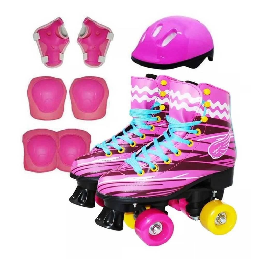 Patins 4 Rodas Roller Clássico Infantil Kit Proteção Inmetro - LCGELETRO