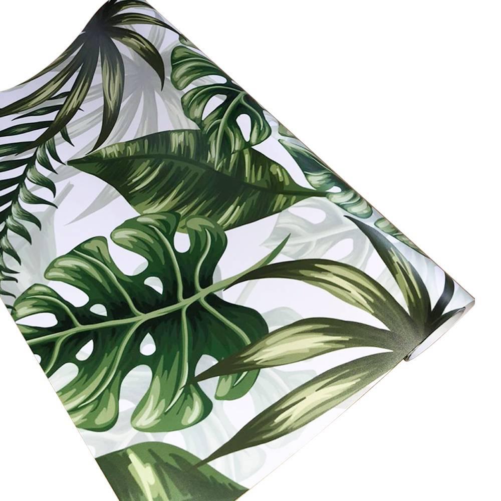 Papel De Parede Adesivo Folhagem Verde Lavável 300x52cm - LCGELETRO