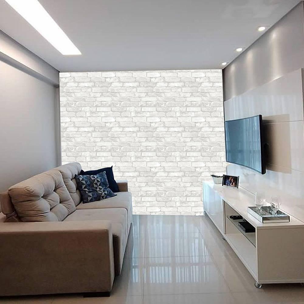Papel De Parede Adesivo Tijolo Pedra Branca Rústico 300x52cm - LCGELETRO