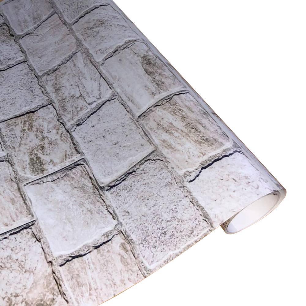 Papel De Parede Adesivo Tijolo Pedra Rústica 300x52cm - LCGELETRO