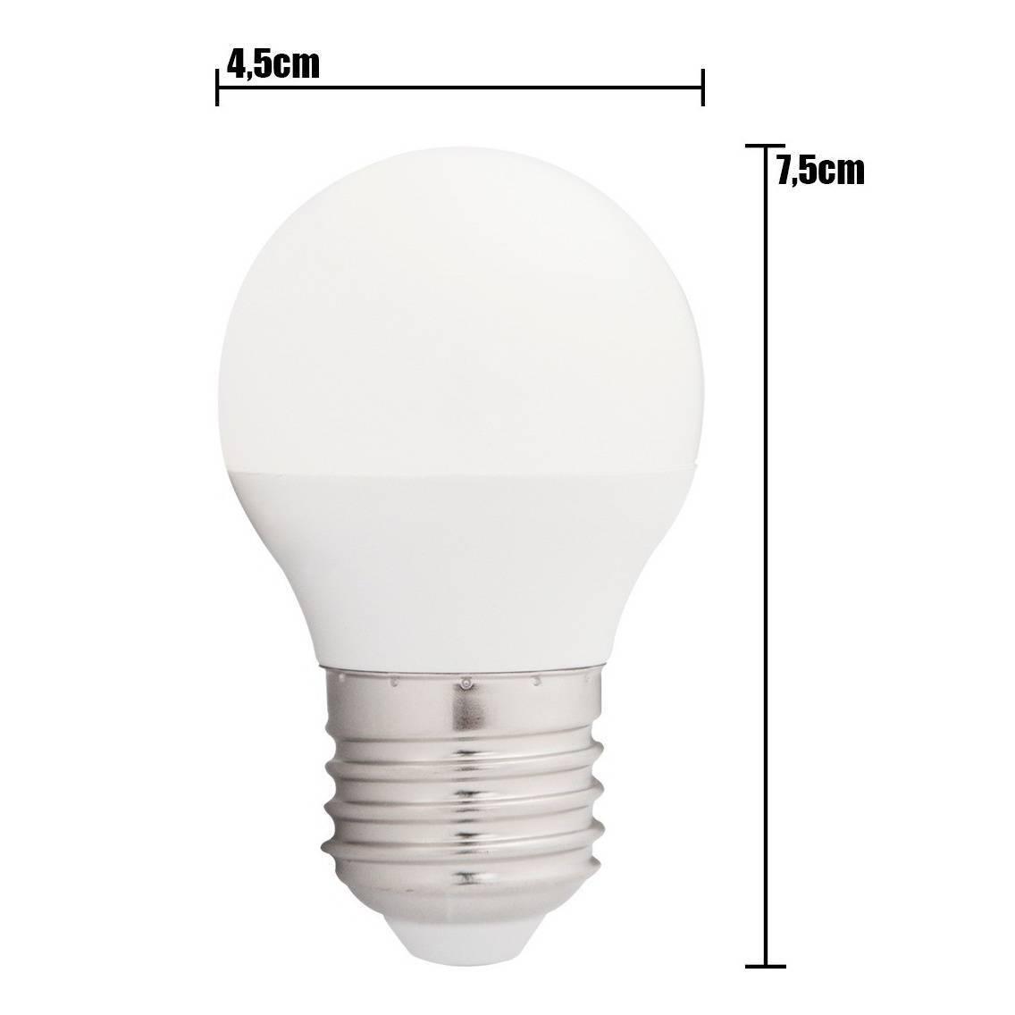 Kit 10 Lâmpada Led 5w Bulbo E27 Bivolt Branco Quente Bolinha - LCGELETRO