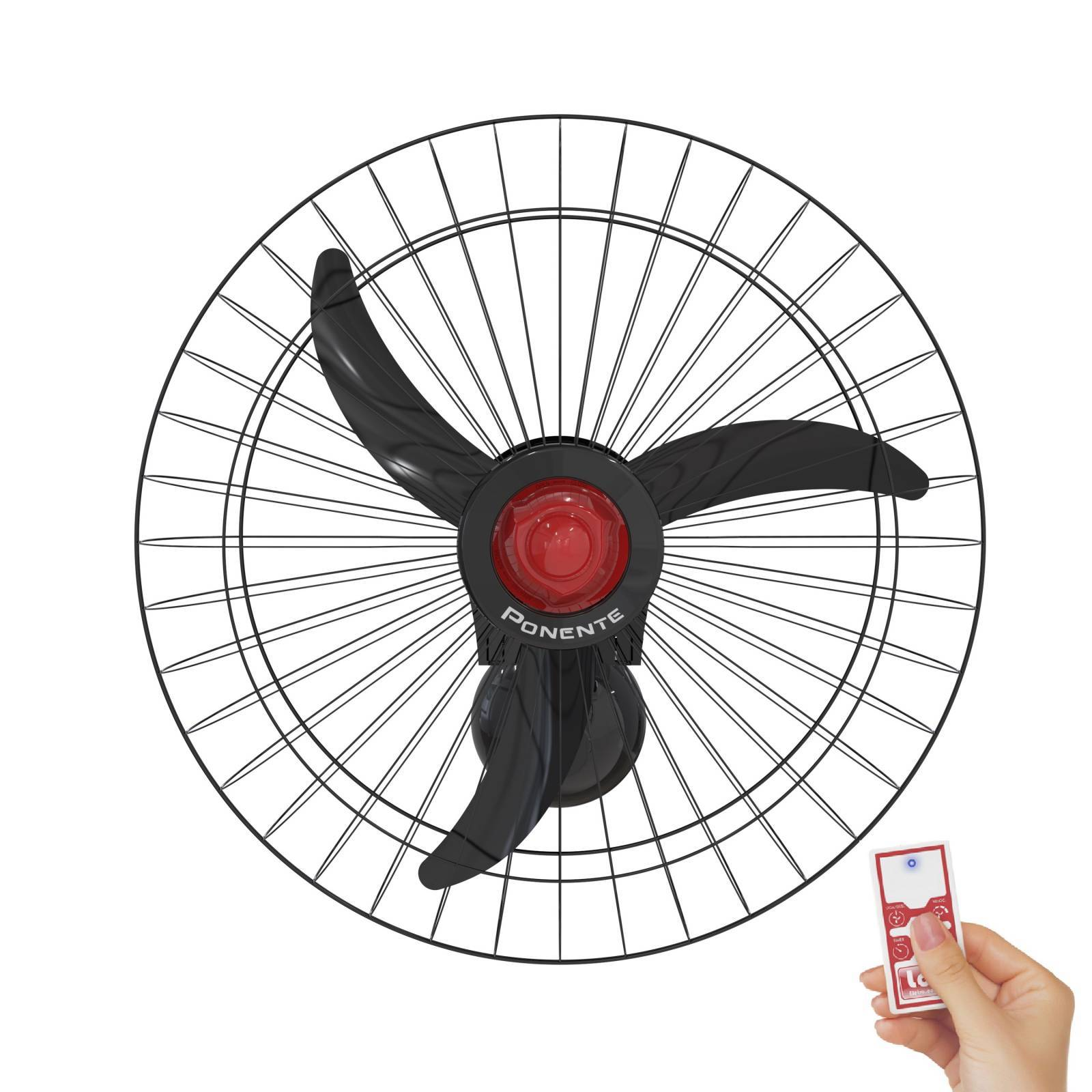 Ventilador De Parede 60cm Preto Ponente 200w Controle Remoto - LCGELETRO