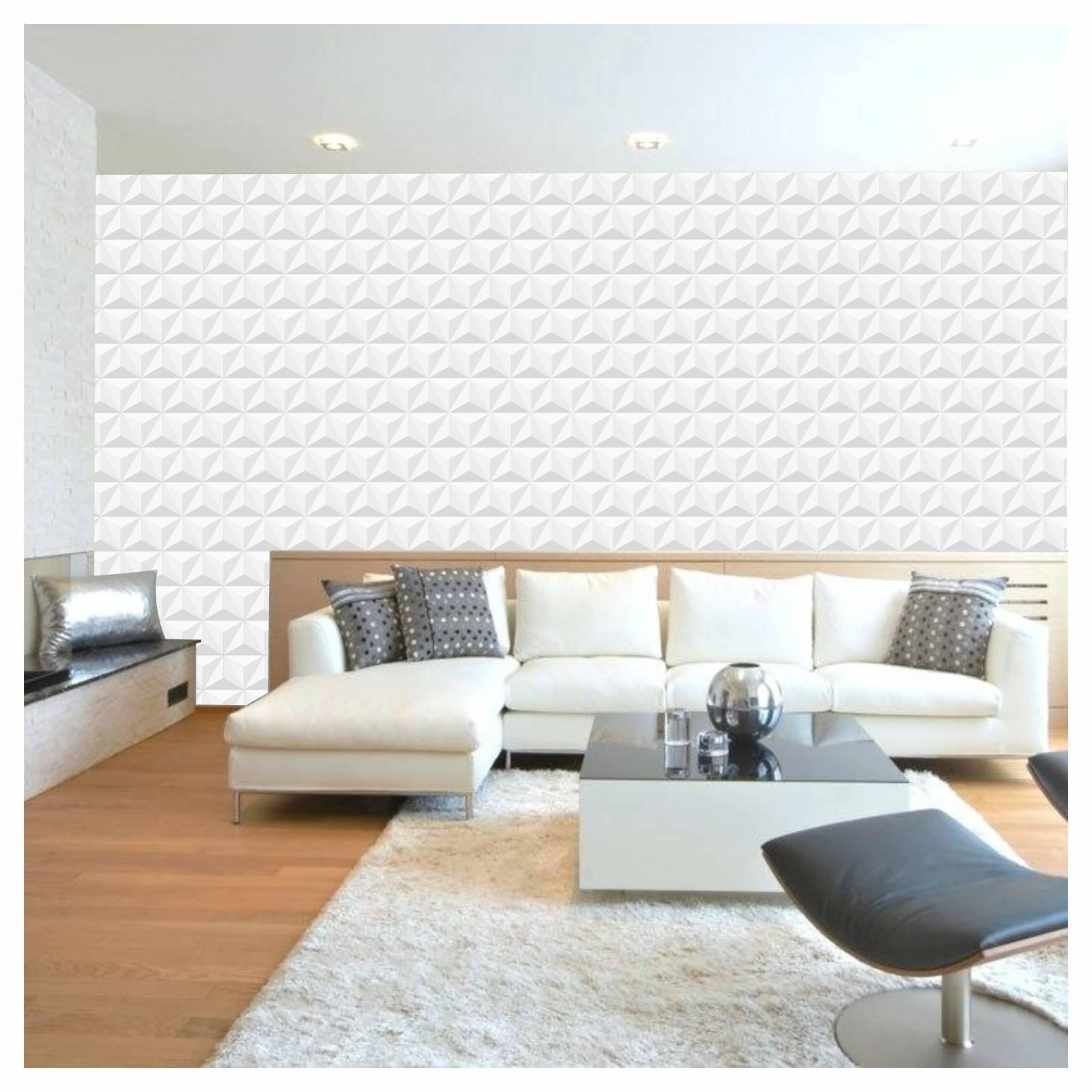 Papel De Parede Adesivo Gesso 3D Branco Vinílico 300x52cm - LCGELETRO