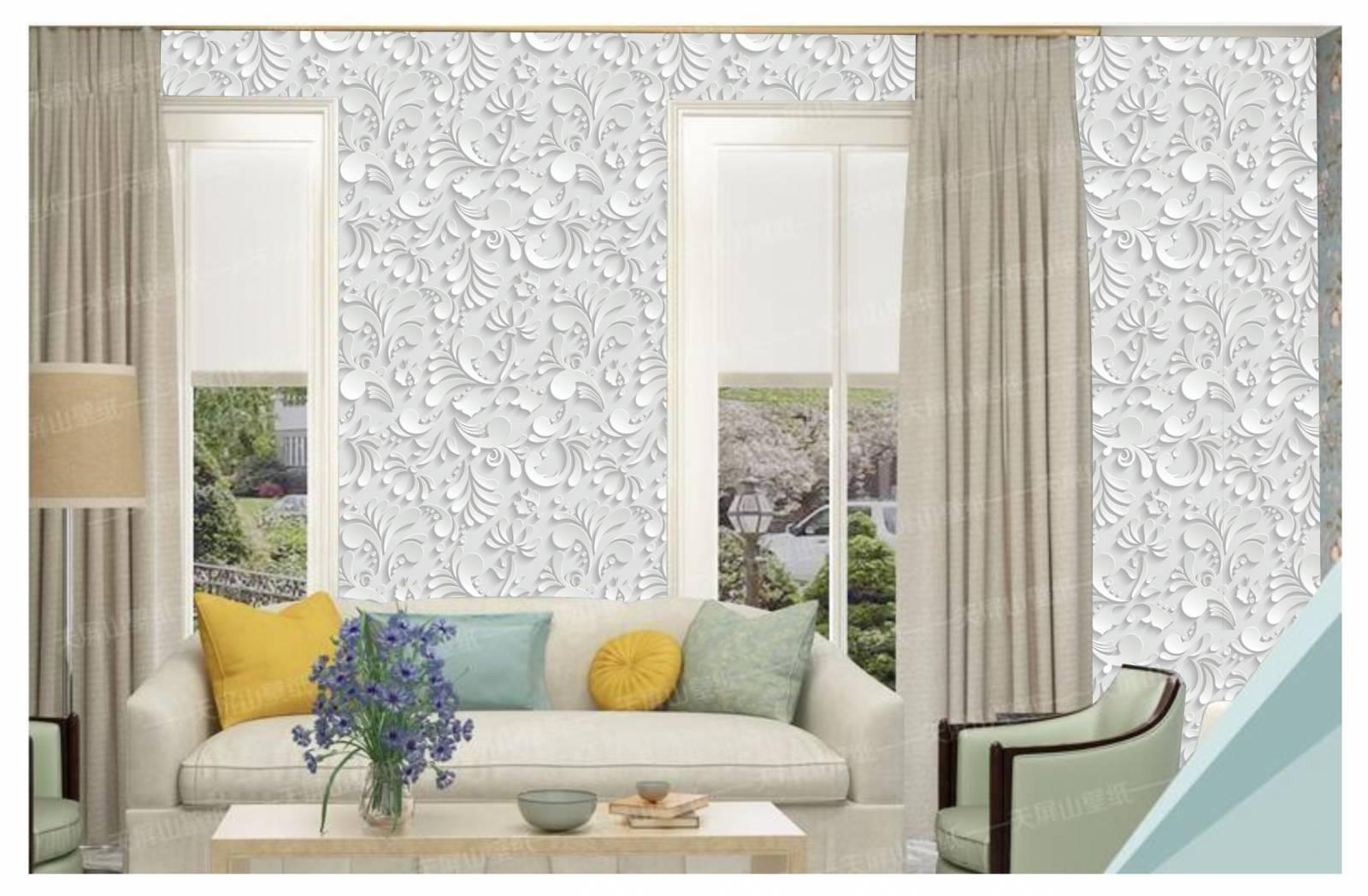 Papel De Parede Adesivo Arabesco Floral Branco 300x52cm - LCGELETRO