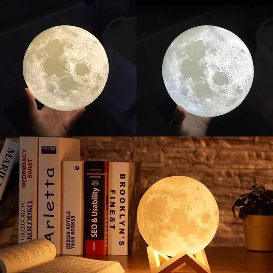 Umidificador Aromatizador Luminária Abajur Lua Led 880ml 3D - LCGELETRO