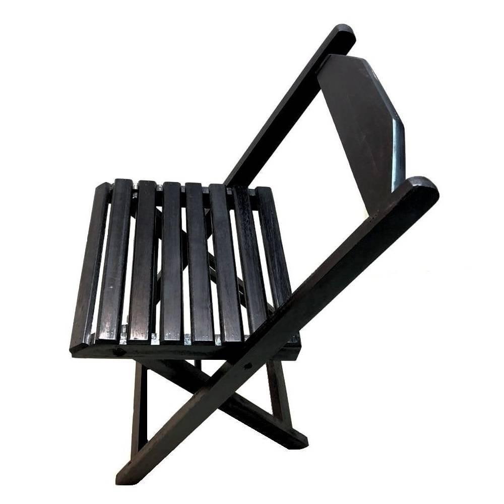 Jogo De Mesa 4 Cadeiras Madeira 70 por 70 Preto Dobrável Bar - LCGELETRO