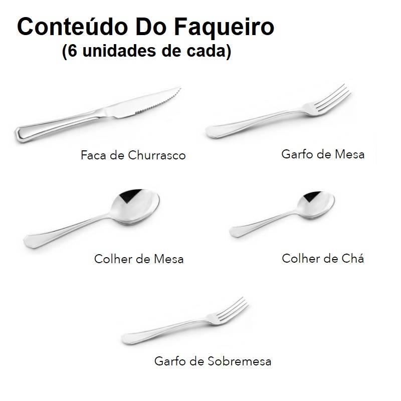 Faqueiro Aço Inox Mimo 30 Peças Maleta Conjunto De Talheres  - LCGELETRO