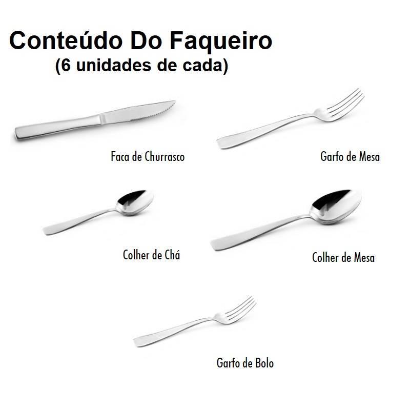 Faqueiro Aço Inox Nina 30 Peças Conjunto De Talheres Mimo - LCGELETRO