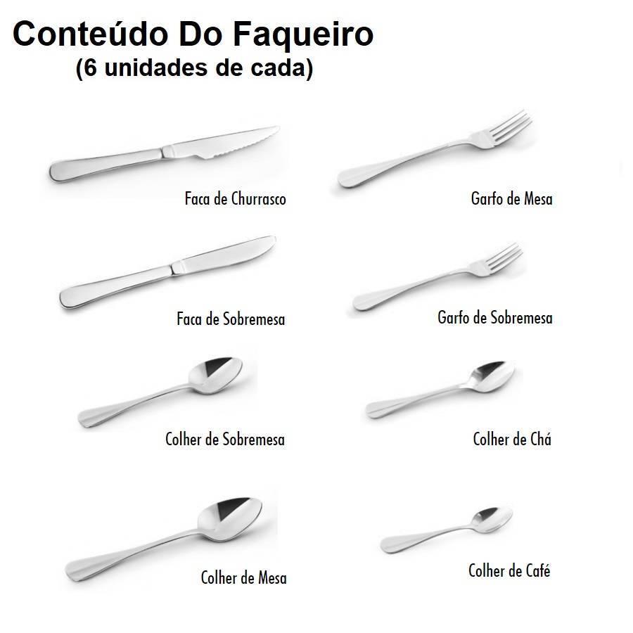 Faqueiro Aço Inox Anna 48 Peças Conjunto De Talheres Mimo - LCGELETRO