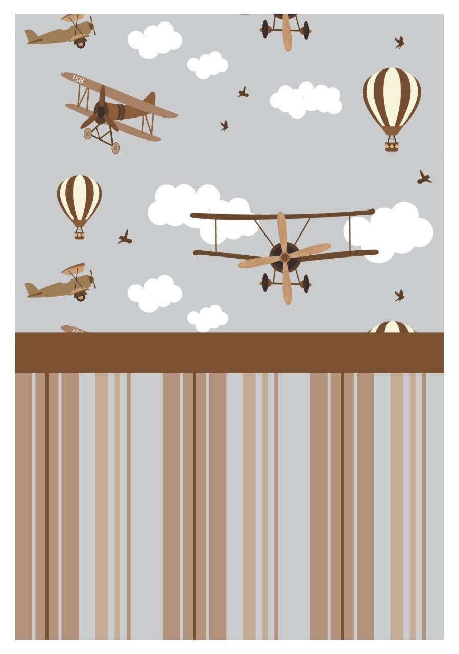 Papel De Parede Adesivo Infantil Marrom Aviões 300x52cm - LCGELETRO