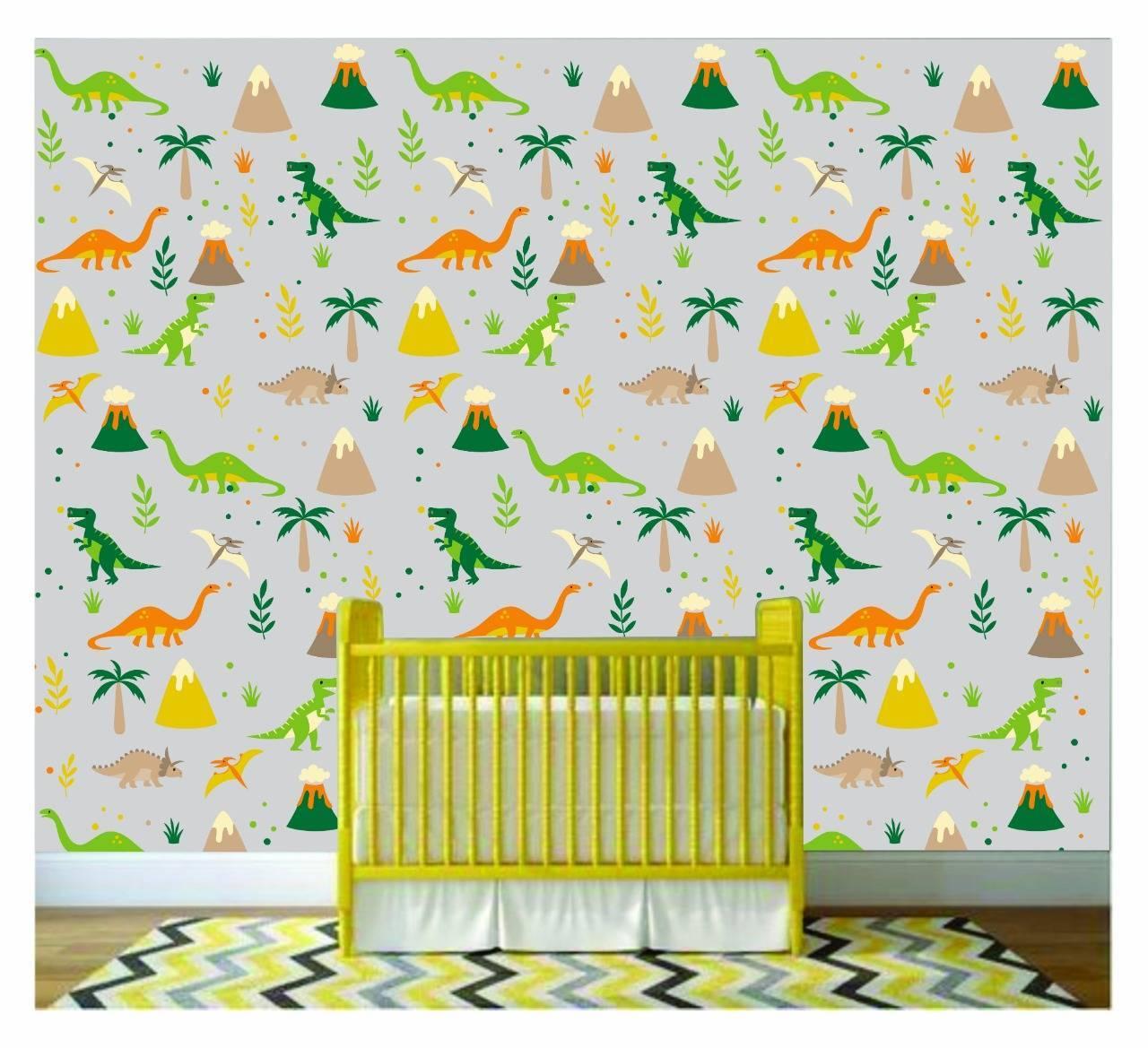 Papel De Parede Adesivo Infantil Dinossauros Colorido 300x52 - LCGELETRO