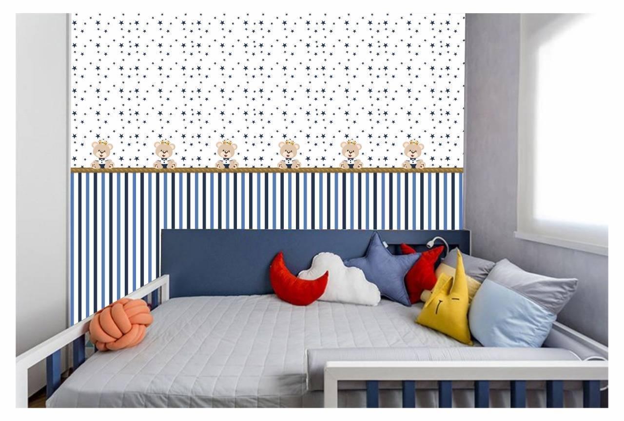Papel De Parede Adesivo Infantil Ursinho Listra Azul 300x52c - LCGELETRO