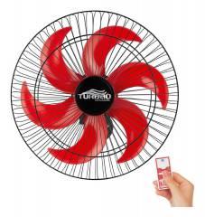 Ventilador de Parede 50cm 6 Pás Preto/Vermelho Turbão Controle Remoto