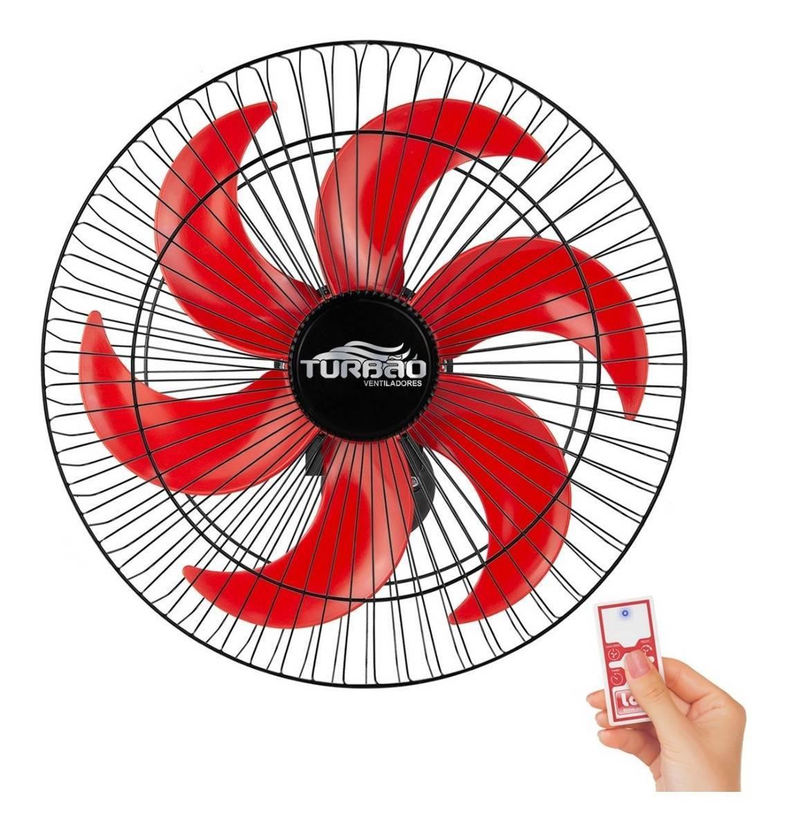Ventilador de Parede 50cm 6 Pás Preto/Vermelho Turbão Contro - LCGELETRO