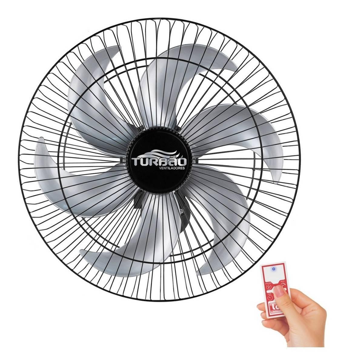 Ventilador de Parede 50cm 6 Pás Preto/Prata Turbão Controle  - LCGELETRO