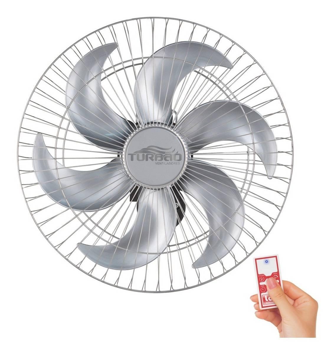 Ventilador de Parede 50cm 6 Pás Prata Turbão Controle Remoto - LCGELETRO