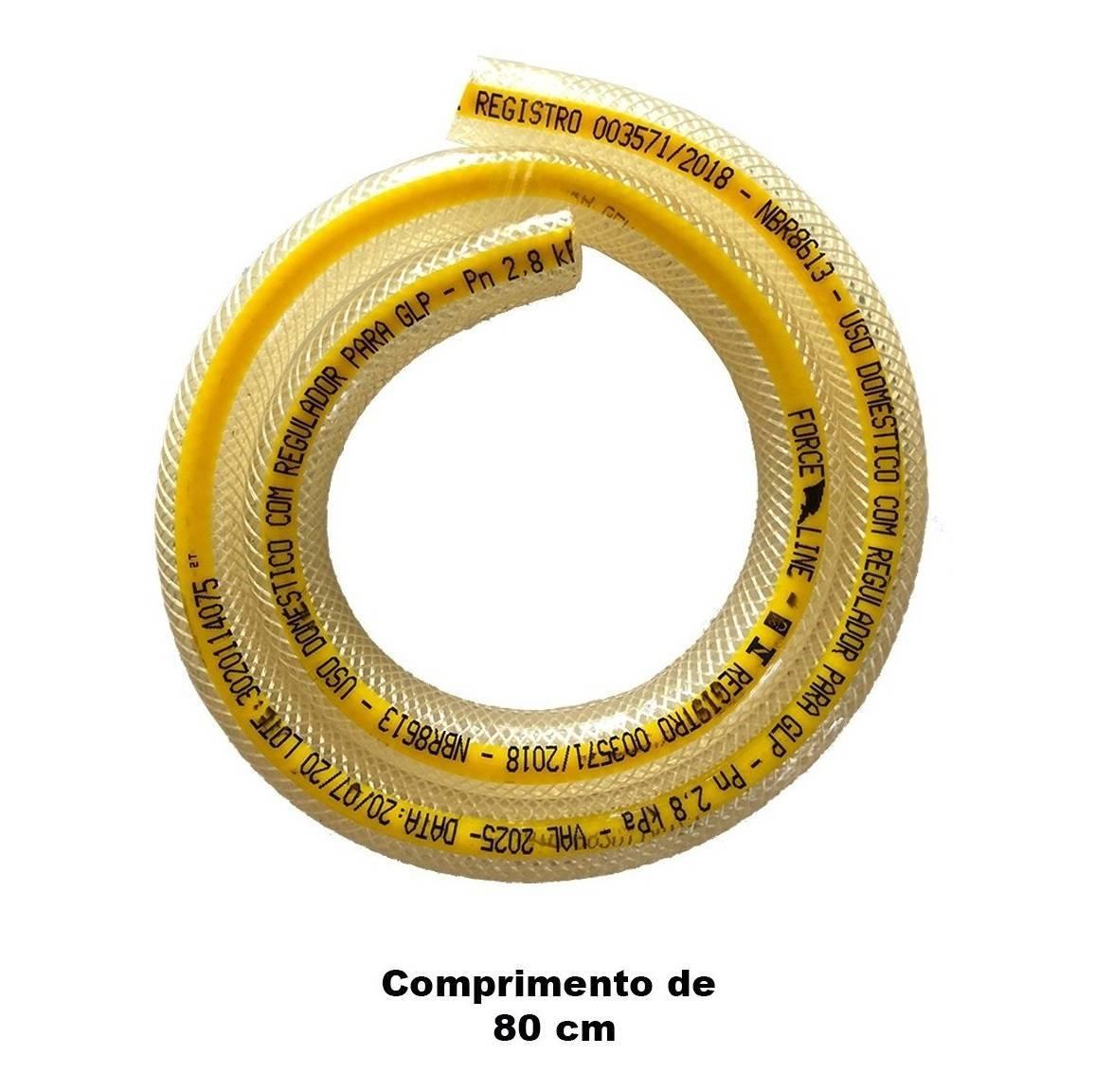 Kit Regulador Registro De Gás + Mangueira 80cm e Abraçadeira - LCGELETRO