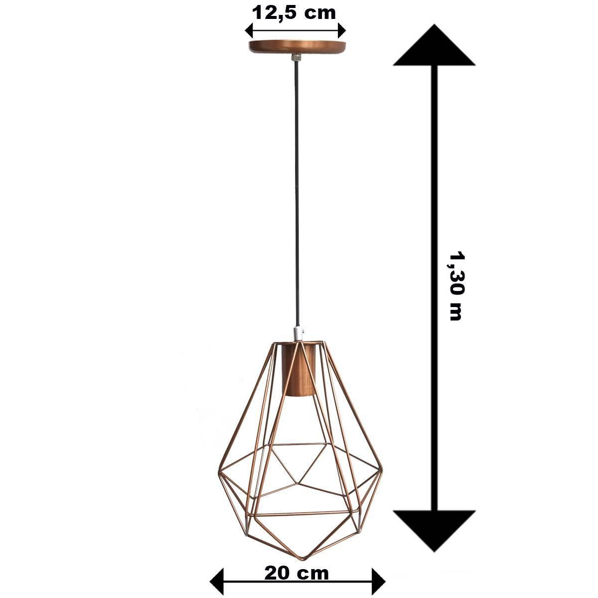 Lustre Pendente Aramado Diamante Cobre P/ 1 Lâmpada - LCGELETRO