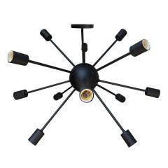 Luminária Pendente Sputnik Átomo 80cm Preto Moderno 12 Lâmpadas