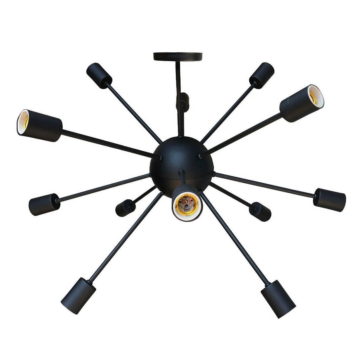 Luminária Pendente Sputnik Átomo 80cm Preto Moderno 12 Lâmpa - LCGELETRO