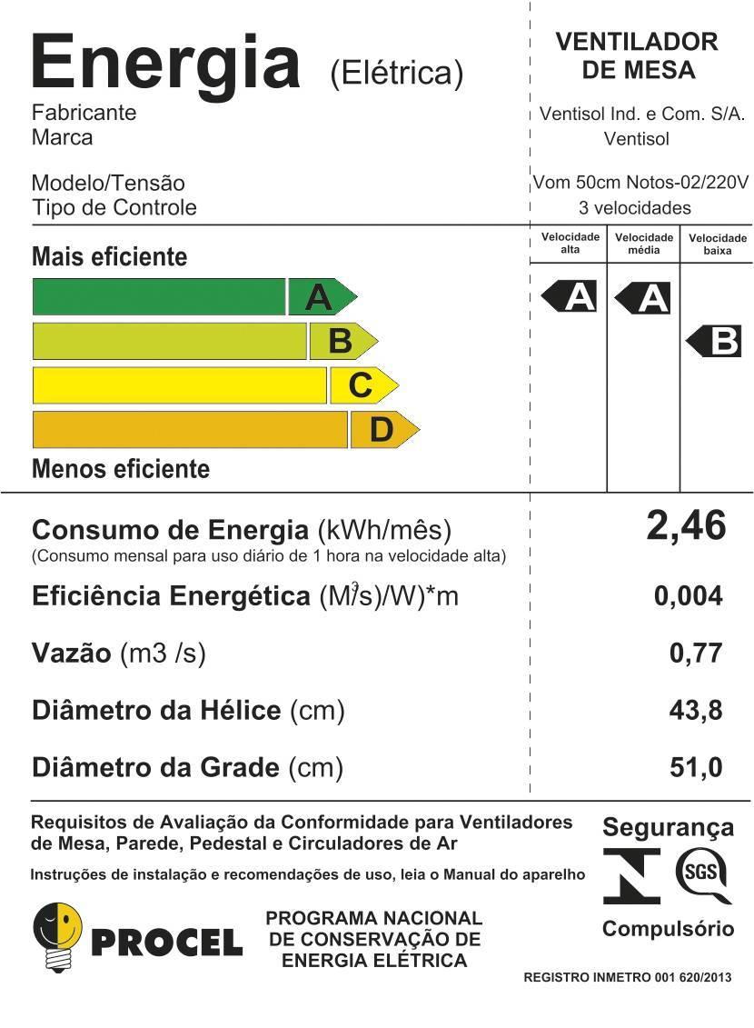 Ventilador Oscilante De Mesa Ou Parede 50cm Notos Ventisol - LCGELETRO