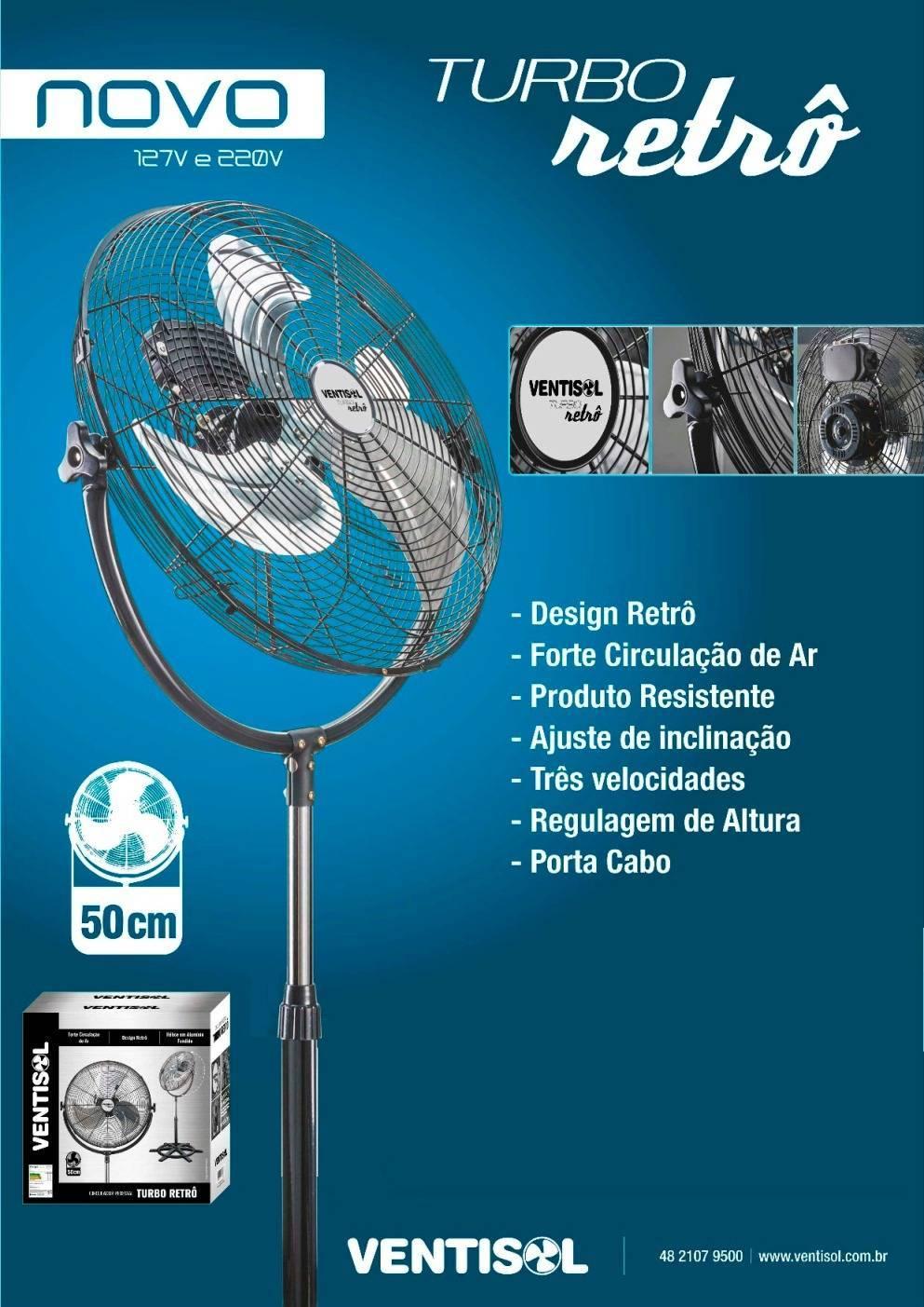 Circulador Ventilador Pedestal Retrô 50cm 130w Ventisol - LCGELETRO
