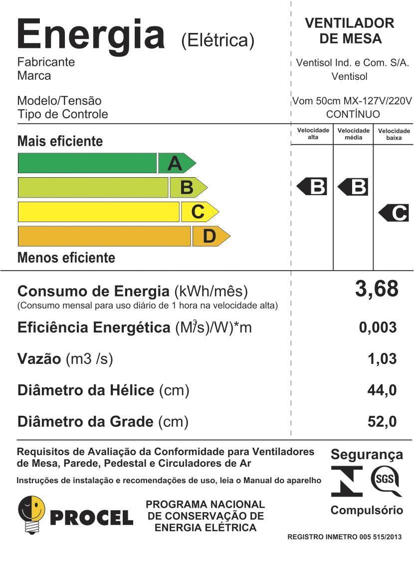 Ventilador Oscilante Mesa 50cm 200w  Bivolt Aço Ventisol - LCGELETRO