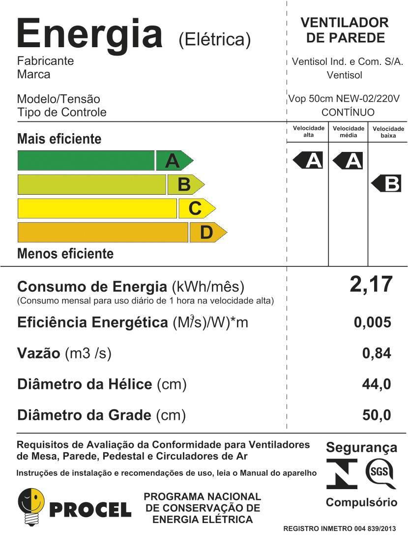 Ventilador de Parede Oscilante 50cm Ventisol - LCGELETRO