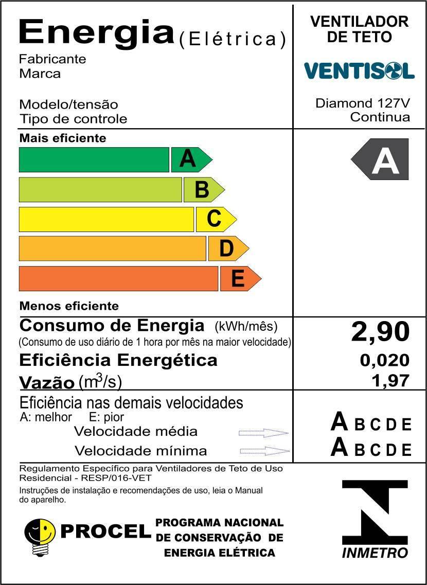 Ventilador De Teto Diamond Ventisol 130w - LCGELETRO