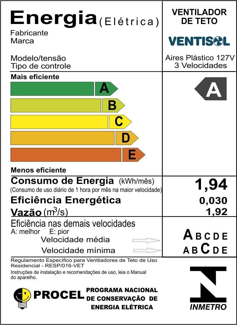 Ventilador de Teto Aires Branco Luxo Ventisol - LCGELETRO