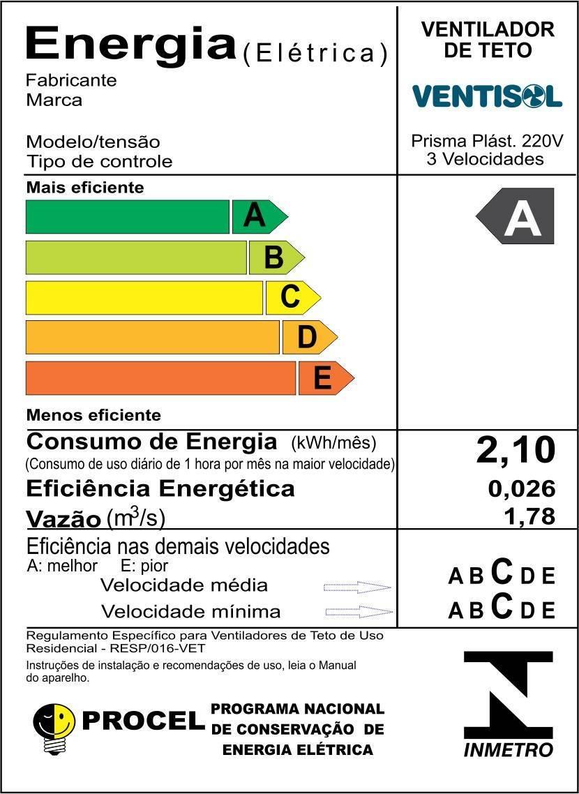 Ventilador de Teto Prisma Residencial Ventisol - LCGELETRO