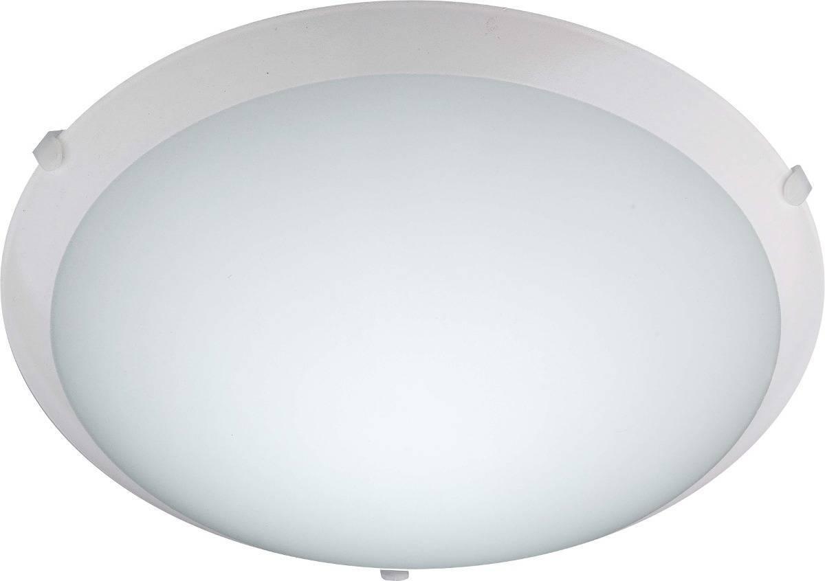 Luminária Redonda Plafon New Clean 30cm Vidro Teto P/ 2 Lâmp - LCGELETRO
