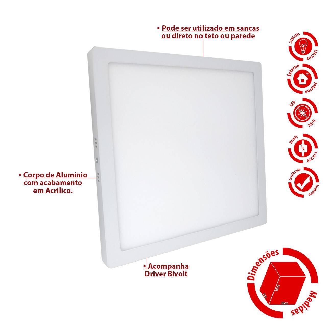 Luminária Plafon Led Sobrepor Quadrado 24w 30x30 - LCGELETRO