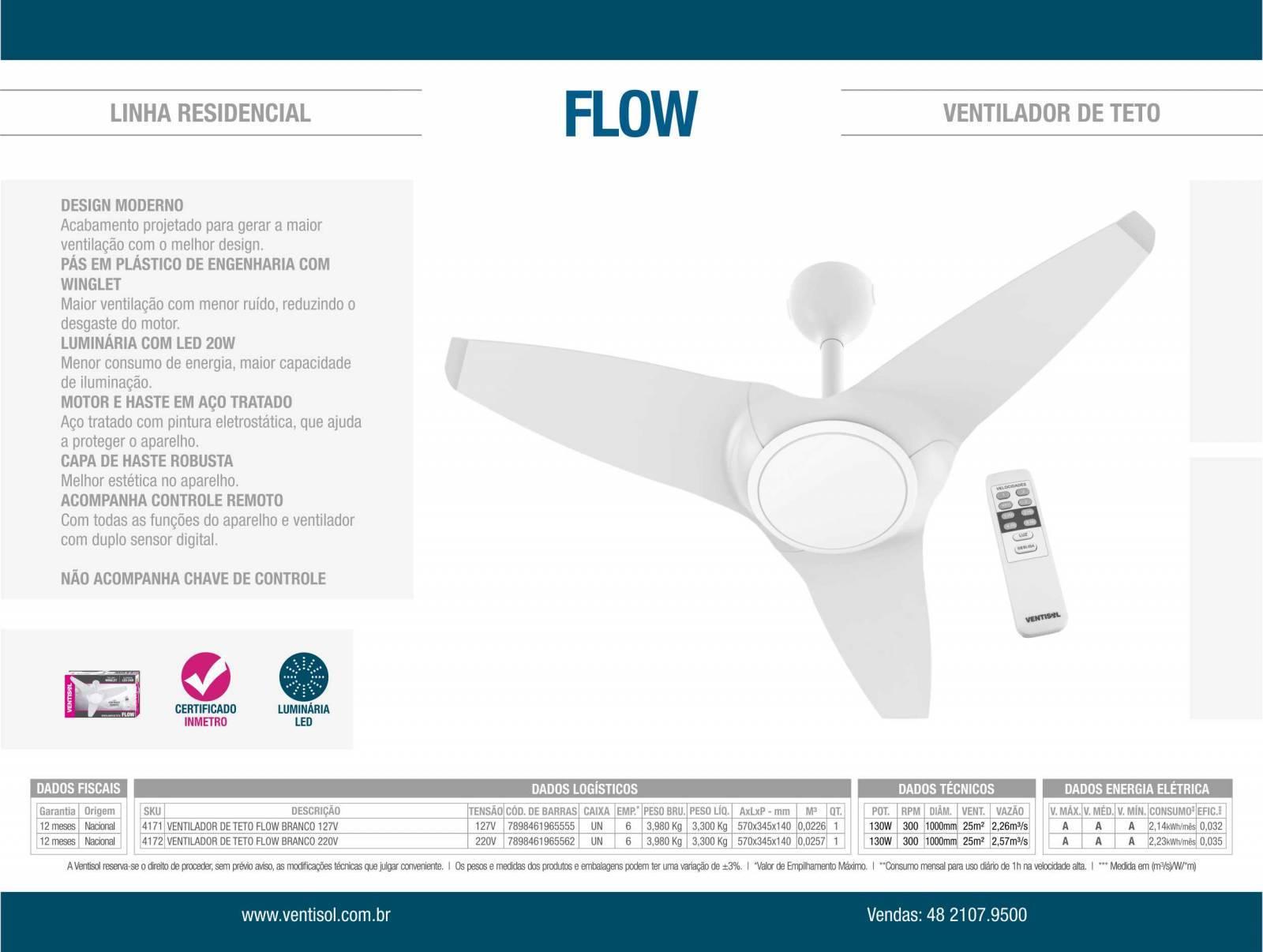 Ventilador De Teto Flow Led 20w Com Controle Remoto - LCGELETRO