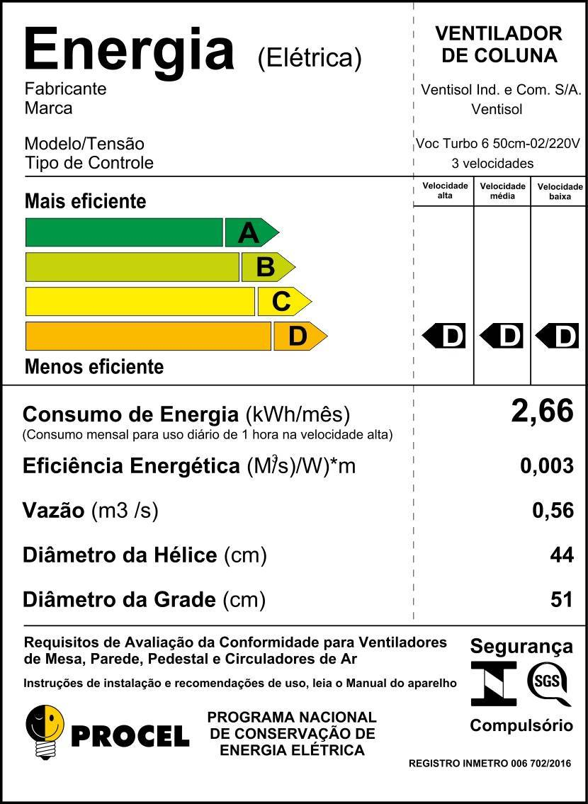 Ventilador de Coluna TURBO 6 Pás 50CM Ventisol - LCGELETRO