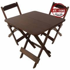 Jogo Mesa Conjunto 70 por 70 Madeira 2 Cadeiras Dobráveis Imbuia