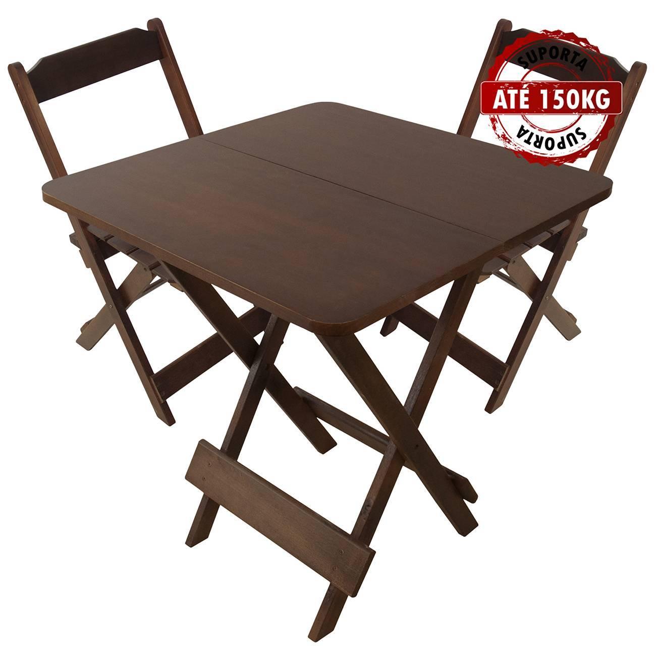 Jogo Mesa Conjunto 70 por 70 Madeira 2 Cadeiras Dobráveis Im - LCGELETRO