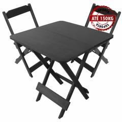 Jogo Mesa Conjunto 70 por 70 Madeira 2 Cadeiras Dobráveis Preto