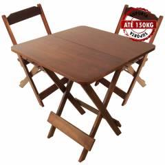 Jogo Mesa Conjunto 70 por 70 Madeira 2 Cadeiras Dobráveis Mel