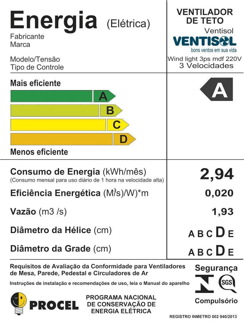 Ventilador De Teto Wind Pera Branco  - LCGELETRO
