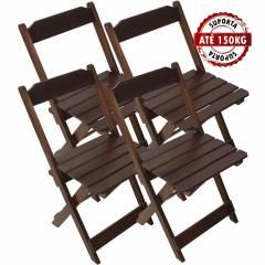 Kit 4 Cadeiras Madeira Maciça Dobrável Imbuia
