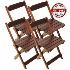 Kit 4 Cadeiras Madeira Maciça Dobrável Mel