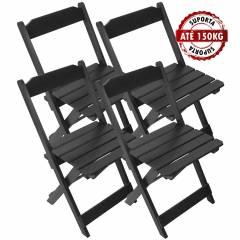 Kit 4 Cadeiras Madeira Maciça Dobrável Preta