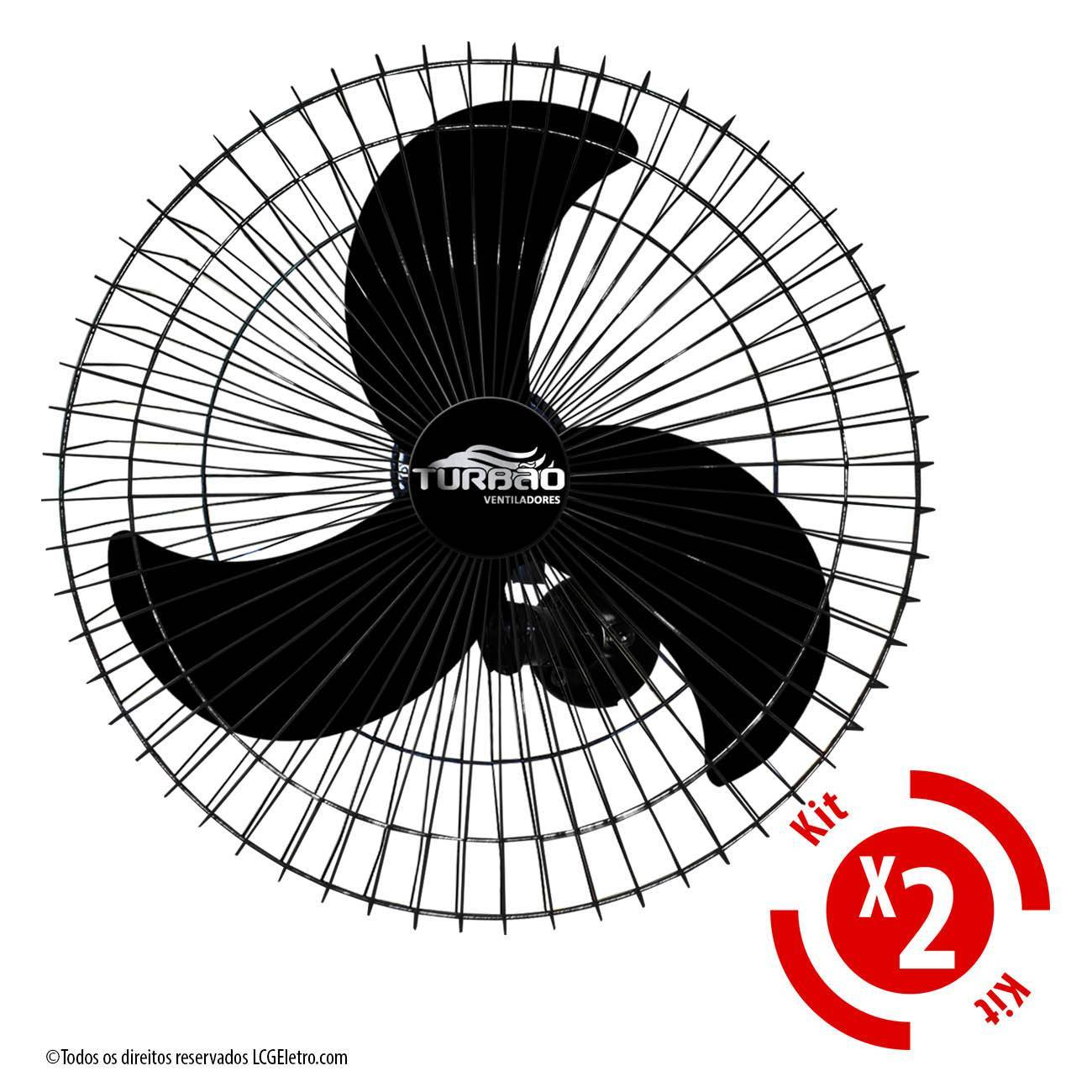 Kit 2 Ventiladores de Parede 60cm Oscilante Preto Turbão 200 - LCGELETRO