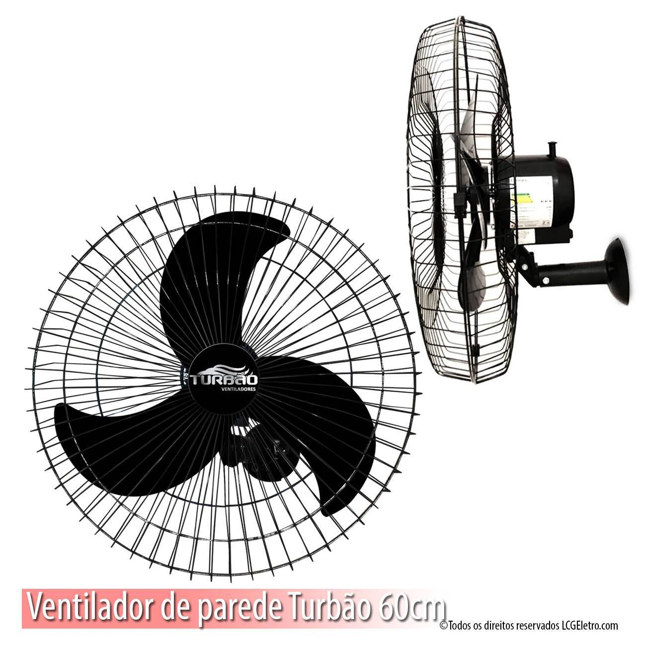 Kit 3 Ventiladores de Parede 60cm Oscilante Preto Turbão 200 - LCGELETRO