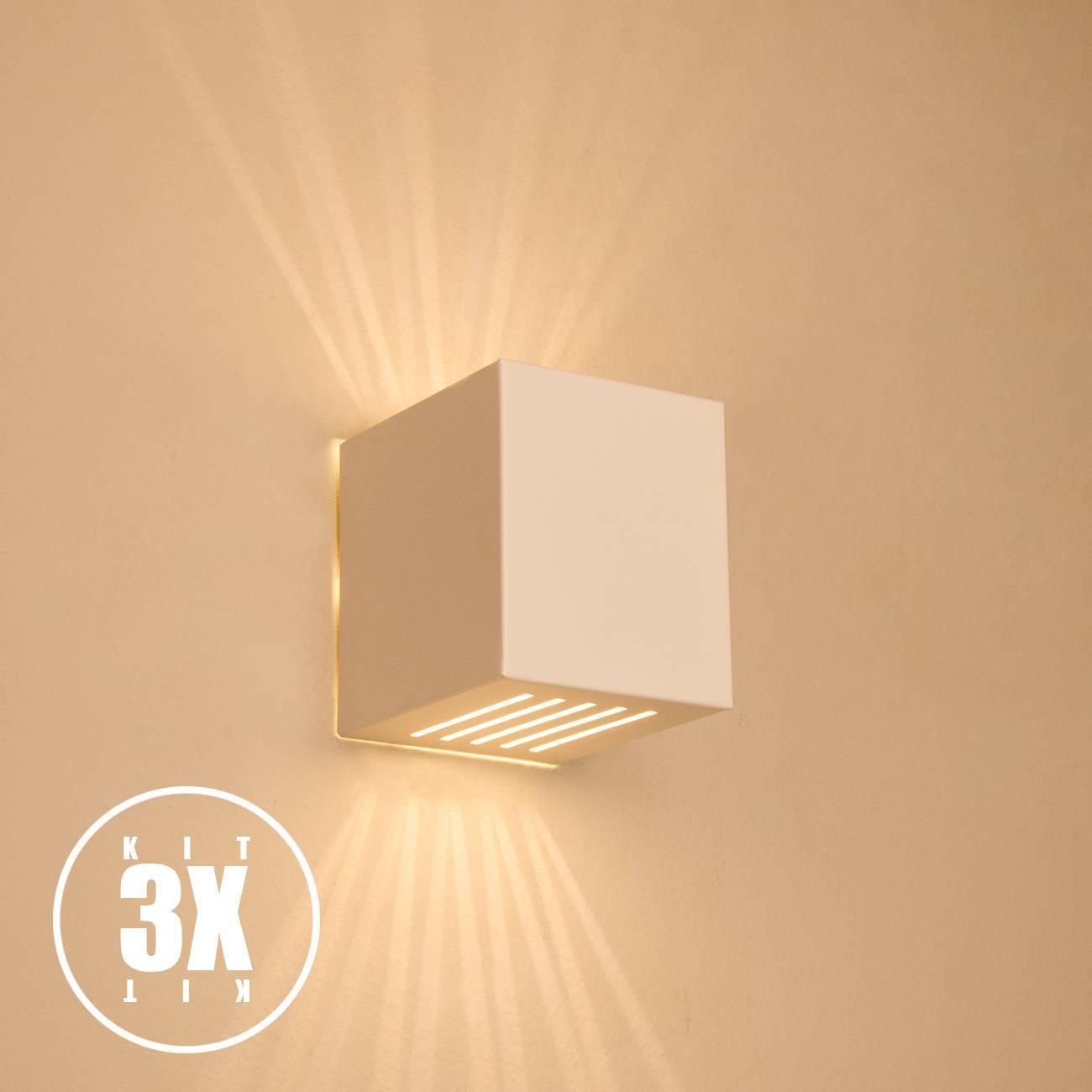 Kit 3 Arandelas Luminária Frisada Efeito Parede Externa/ Int - LCGELETRO