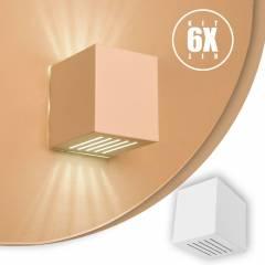 Kit 6 Arandelas Luminária Frisada Efeito Parede Externa/ Int Muro