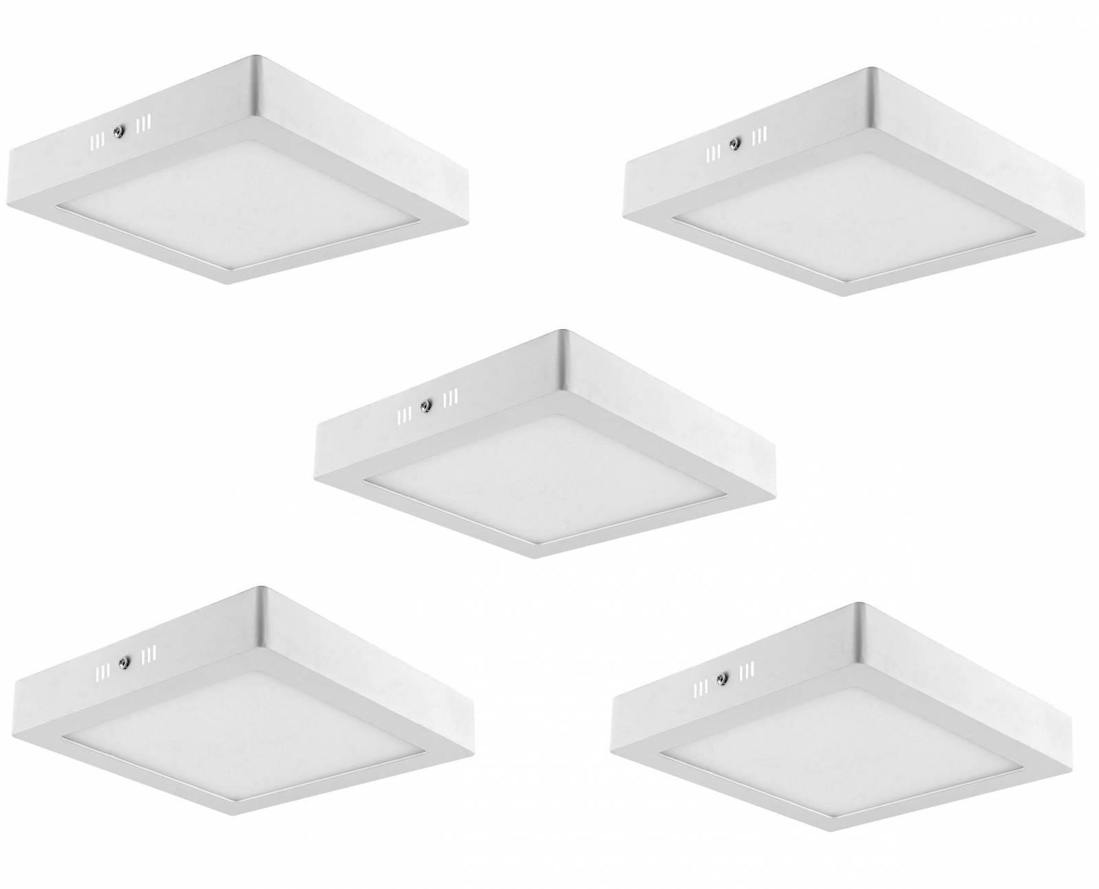 Kit 5 Luminária Plafon Led De Sobrepor 18w Quadrada Branco  - LCGELETRO